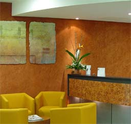 Healthcare: Custom polished plaster finish, healthcare reception