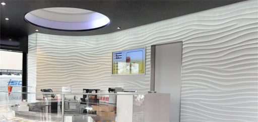 "Curved Sculptural Walls: Curved Sculptural ""Flow"" wall, Movenpick Store, Europe"