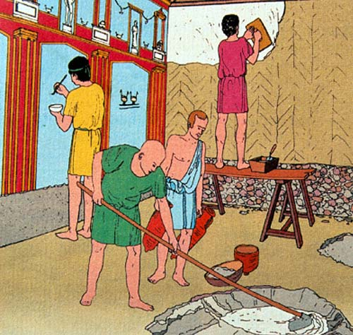 Artist impression of Romans applying polished plaster