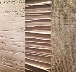 Materials Palettes: Custom polished plaster finishes (left) BUK 6559 (middle) BUK 6655 (right) BUK 7438