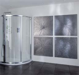 Residential: Custom Metalised Leaf Panels, bathroom, Aquata Showers photoshoot