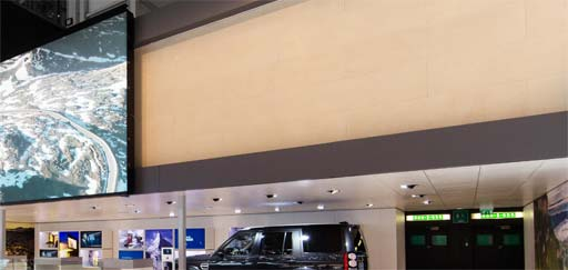 Retail: Hand Applied Polished Plaster Panels at Landrover Jaguar, Geneva