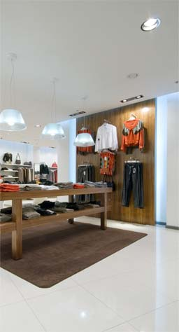 Acoustic Plaster: Acoustic ceilin retail application. Image used for ilustrative purposes only.