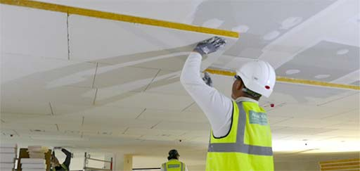 Acoustic Plaster: Acoustic pad installation with light detail