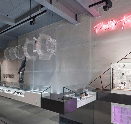 ArmourFX Concrete Effect Panels: G Shock store, London - Double Retail Max McClure