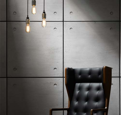 ArmourFX Concrete Effect Panels: Press image - Chair and lights courtesy of Buster + Punch