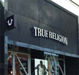 Hand applied panels: True Religion stores in USA and Canada