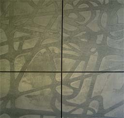 Hand applied panels: Recessed stencil design on concrete effect panel