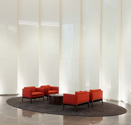 Hand applied panels: Spatulata polished plaster panels at 50 Post Office Square, Boston