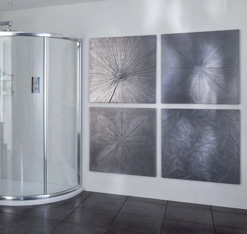 Commissions: concept cast leaf panels with metallic finish, Aquata shower photoshoot