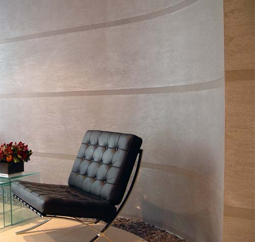 Dragged: Dragged Polished Plaster Finish - Curved wall in reception