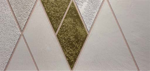 Stencils: Geometric stencil design with gold leaf