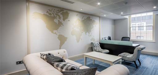 Stencils: Polished Plaster stencil work - world map in reception