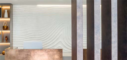 One Stop Doctor: Sculptural Flow Wave in reception area