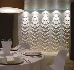 "Sculptural: Armourcoat sculptural ""Leaves"" at the Tatler Restaurant, Chelsea Design Centre, London"